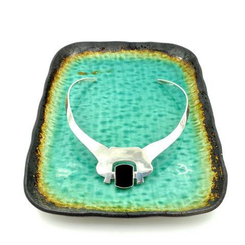 Sterling Silver & Onyx Sculptural Collar