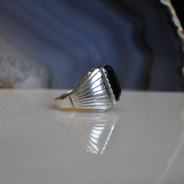 Vintage Onyx Sterling Silver Ring (.925)