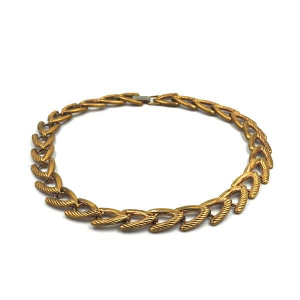 Vintage Patterned Brass Chain Choker
