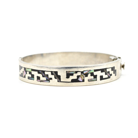 Vintage Taxco Sterling & Abalone Inlay Bracelet (.925)