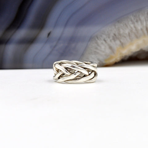Vintage Classic Braided Sterling Silver Band (925) Size: 5.5