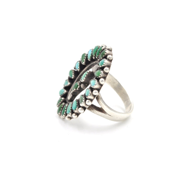 Vintage Petit Point Turquoise Ring (925) Size: 6