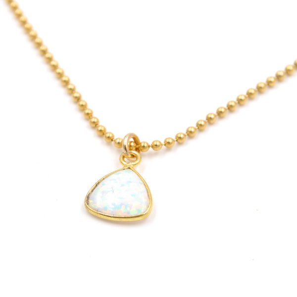 opal triangle drop necklace