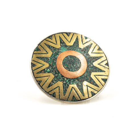 Vintage Geometric Inlay Pendant/Pin