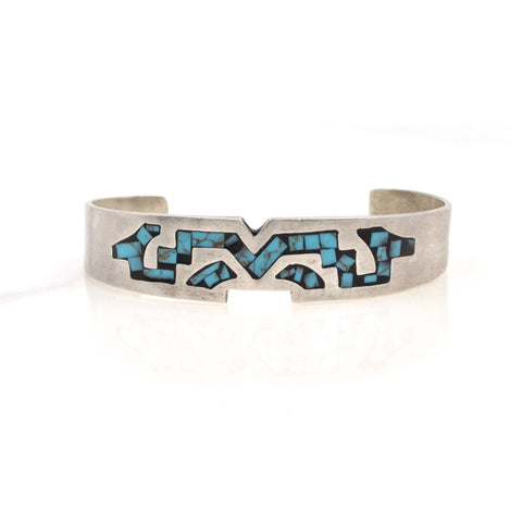 Vintage Taxco Geometric Turquoise Inlay Cuff (.925)