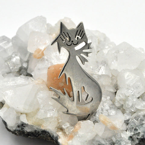 Vintage Taxco Sterling Cat Pin