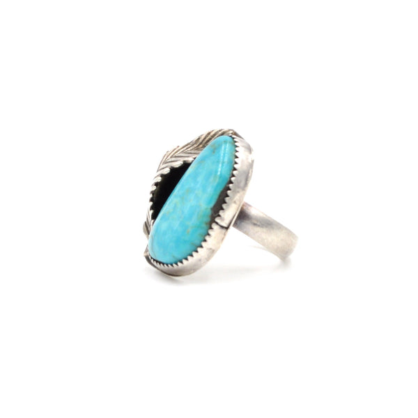 Vintage Turquoise Feather Ring (925) Size: 5.5
