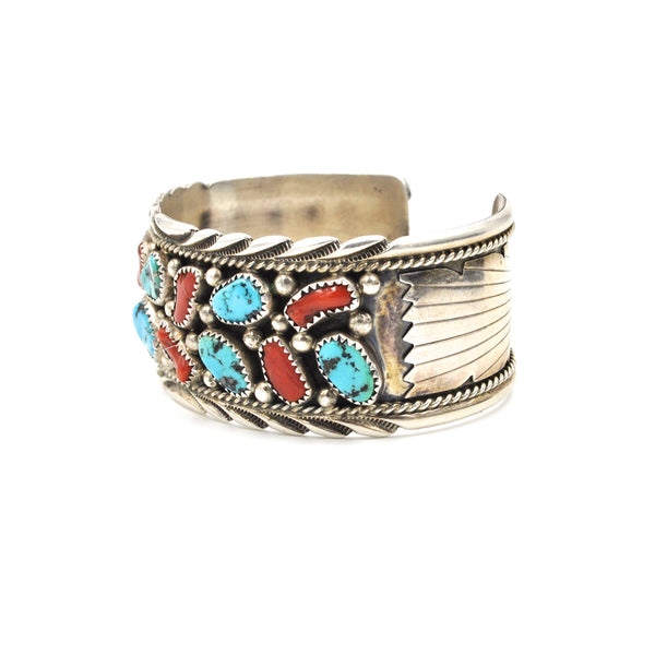 Vintage Navajo Turquoise Nugget & Coral Sterling Cuff (.925)