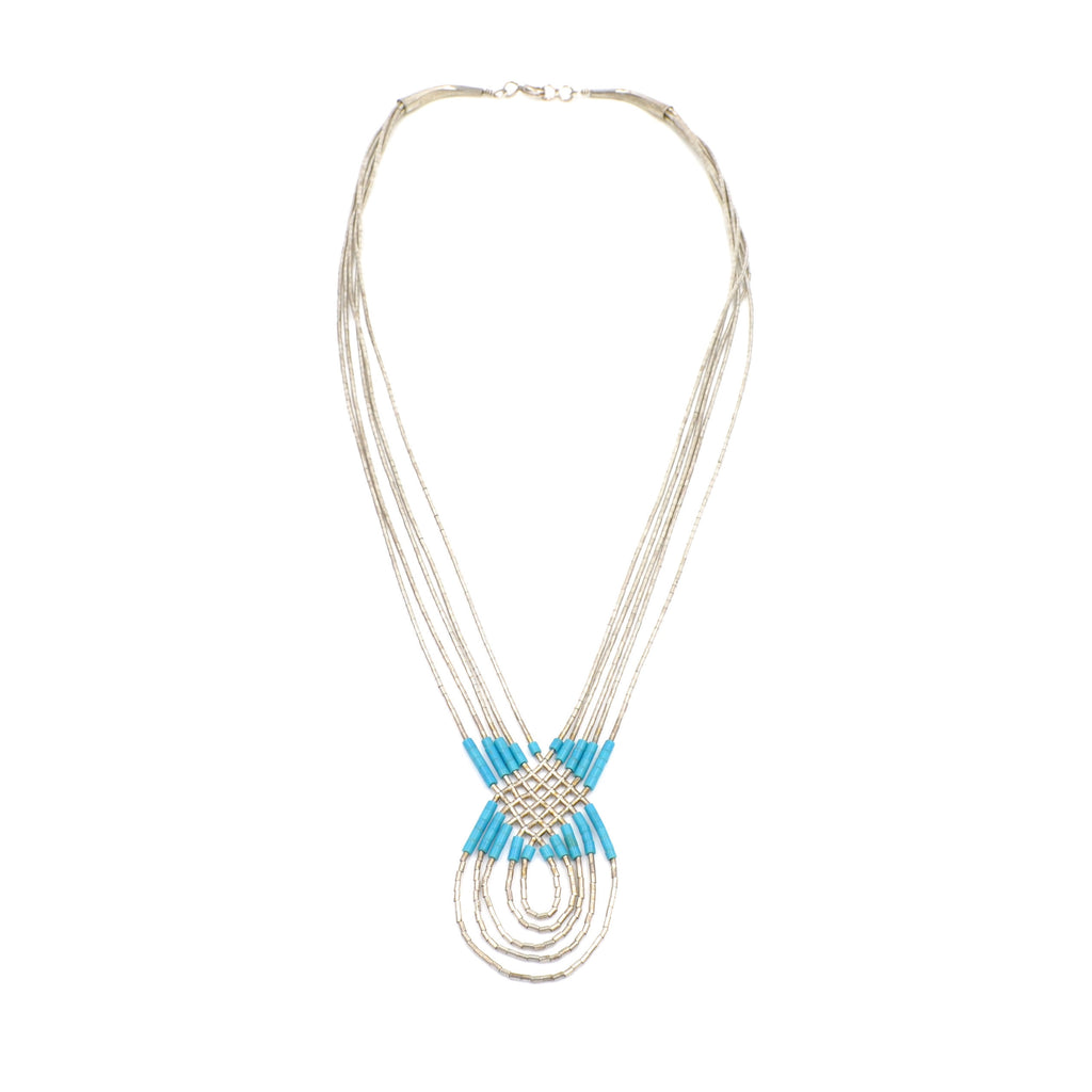 Vintage Braided Liquid Silver & Turquoise Necklace
