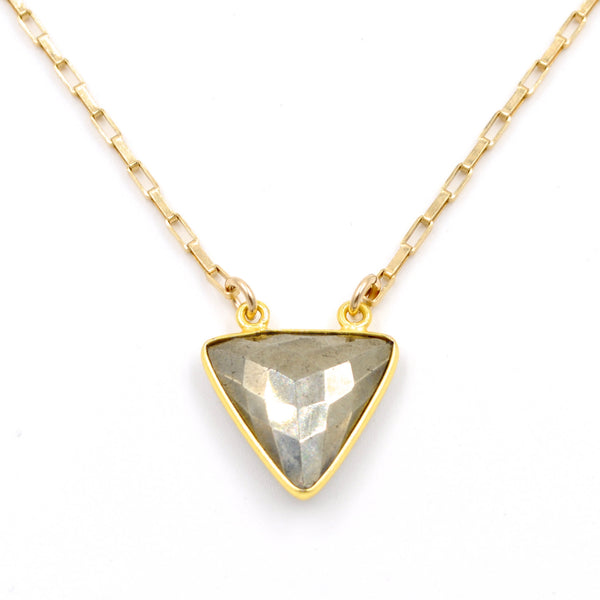 pyrite triangle necklace