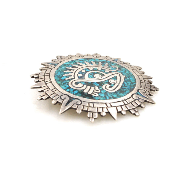 Vintage Aztec Turquoise Inlay Pendant/Pin