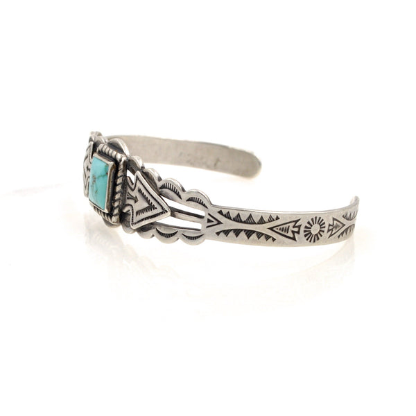 Vintage Turquoise Arrow Stamped Cuff (.925)