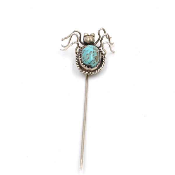 Vintage Turquoise & Sterling Silver Spider Stick Pin