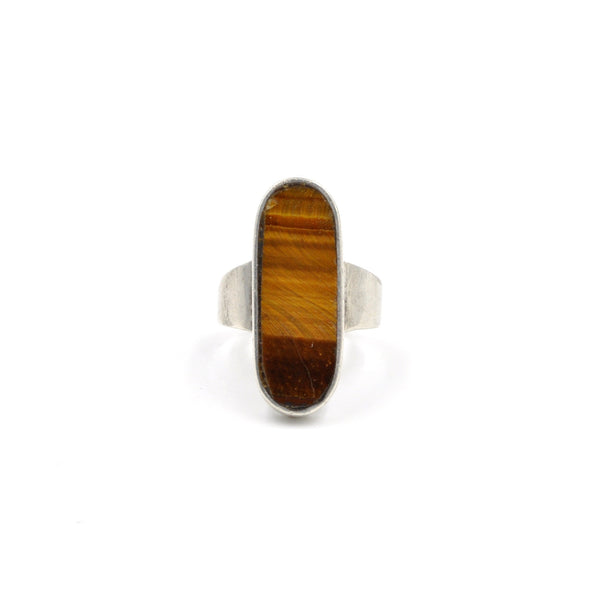 Vintage Taxco Tiger's Eye Inlay Ring (.925) Size: 6.5