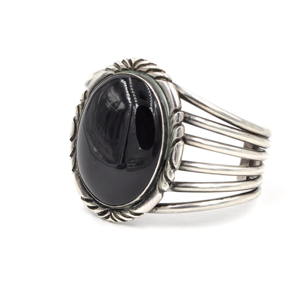 Vintage Onyx Sterling Cuff (.925) - Extra Large Statement Cuff