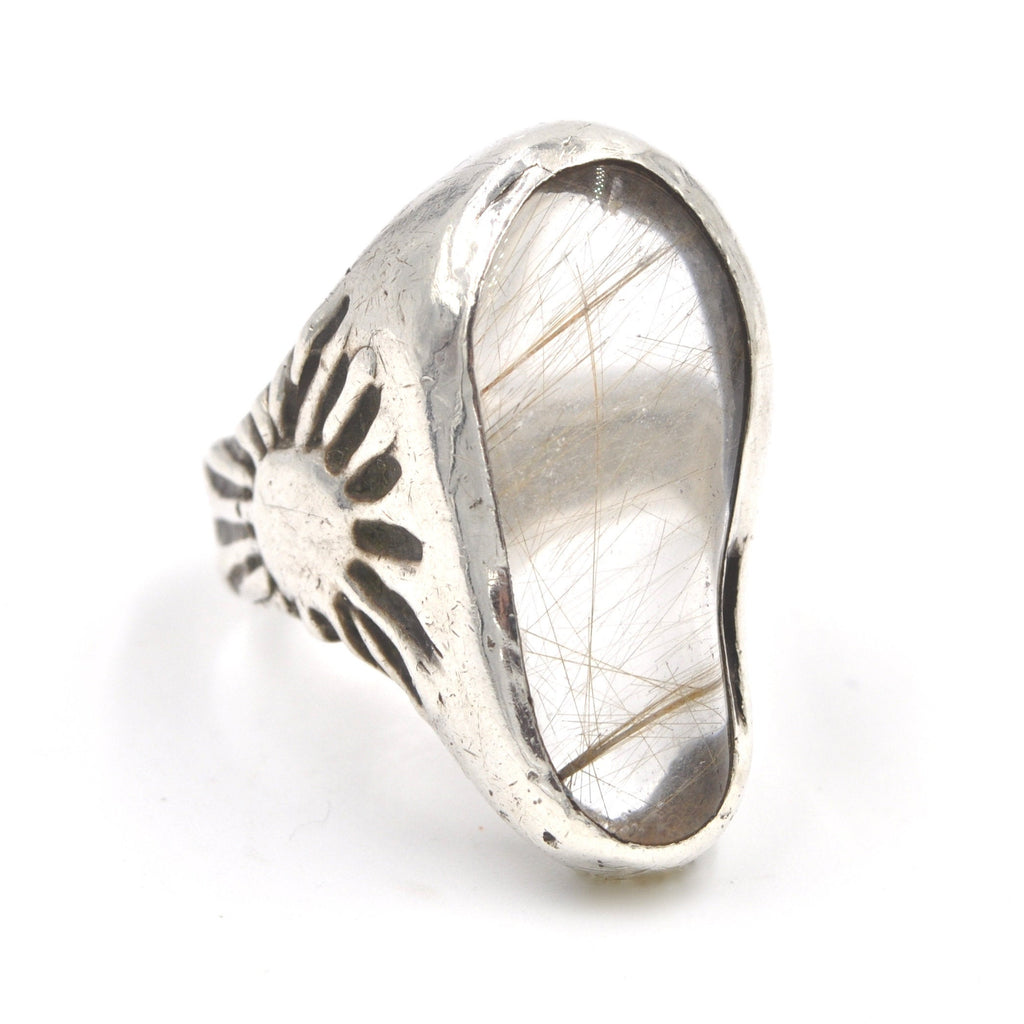 Vintage Sunburst Rutilated Quartz Sterling Silver Ring (.925) Size: 8