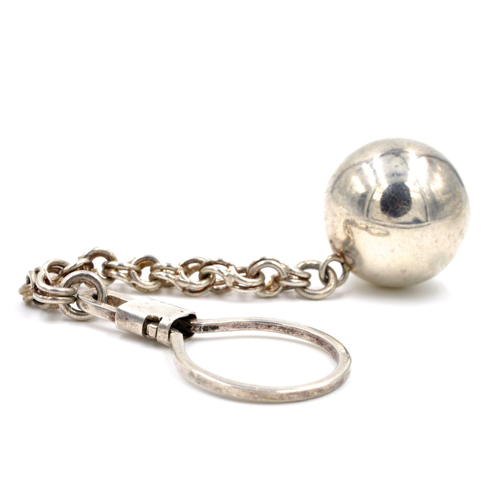 Vintage Silver Jingle Ball Keychain