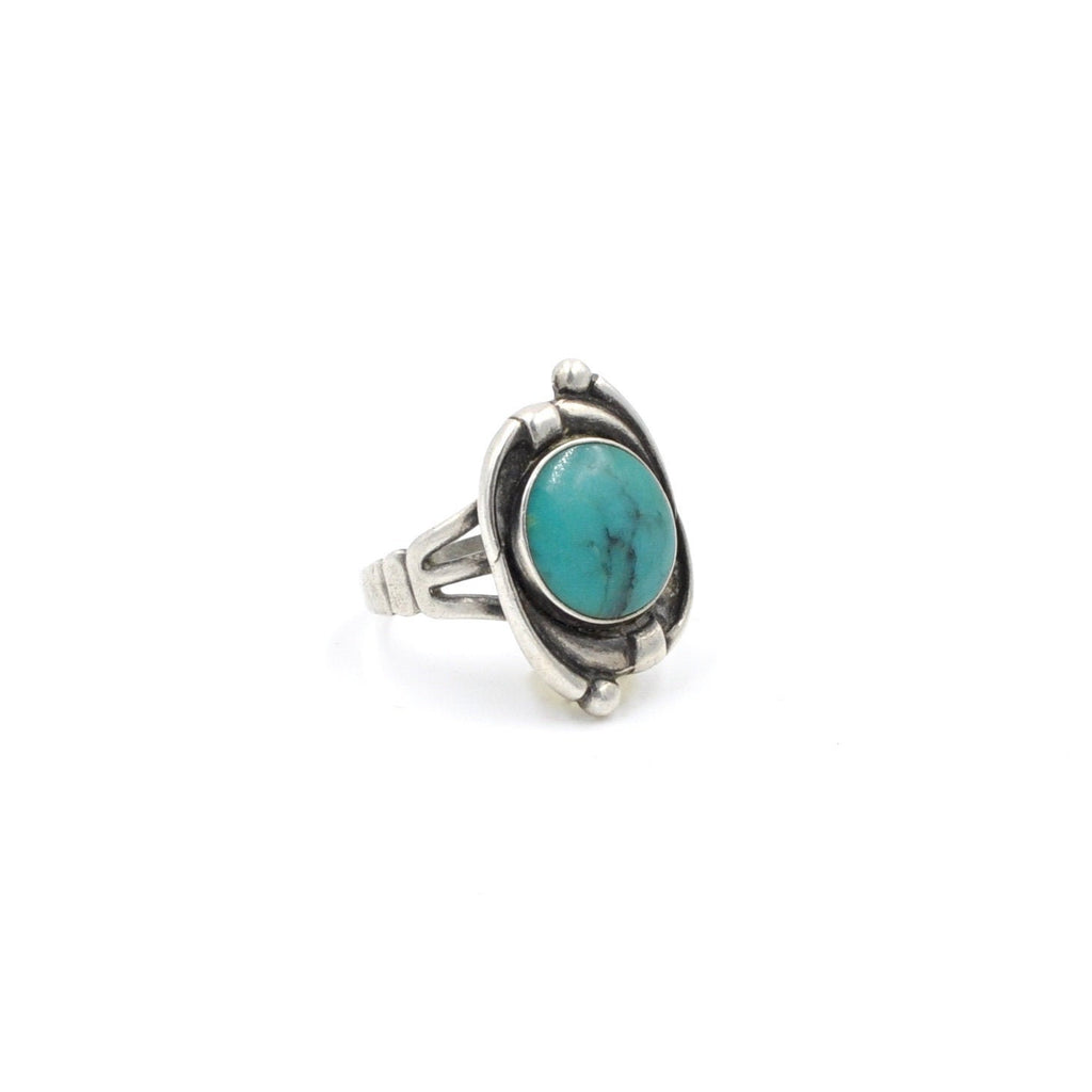 Vintage Sterling Silver Tendril Ring with Green-Blue Stone (925) - Size: 8