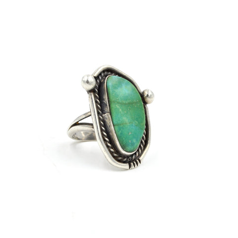 Vintage Green Turquoise Sterling Silver Ring (925) - Size: 5