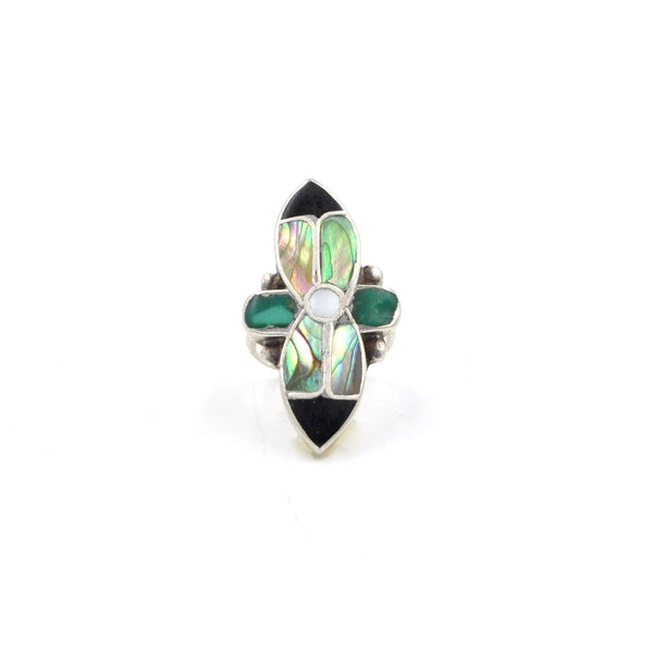 Vintage Southwestern Flower Inlay Sterling Ring (925) Size: 4.5