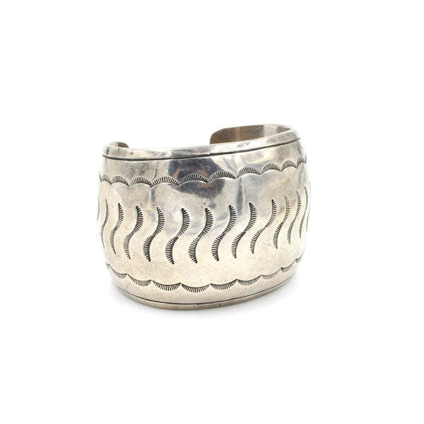 Vintage Wide Stamped Sterling Cuff (.925) - Wide Statement Cuff