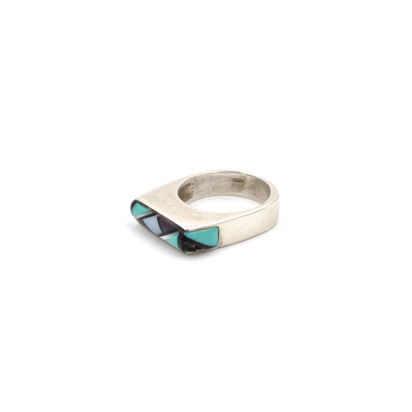 Vintage Mix Stone Inlay Ring (.925) Size: 7