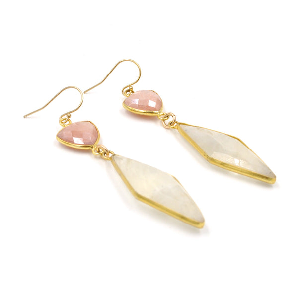 moonstone & peach earrings