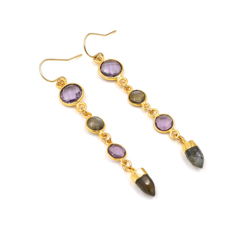 labradorite & amethyst earrings