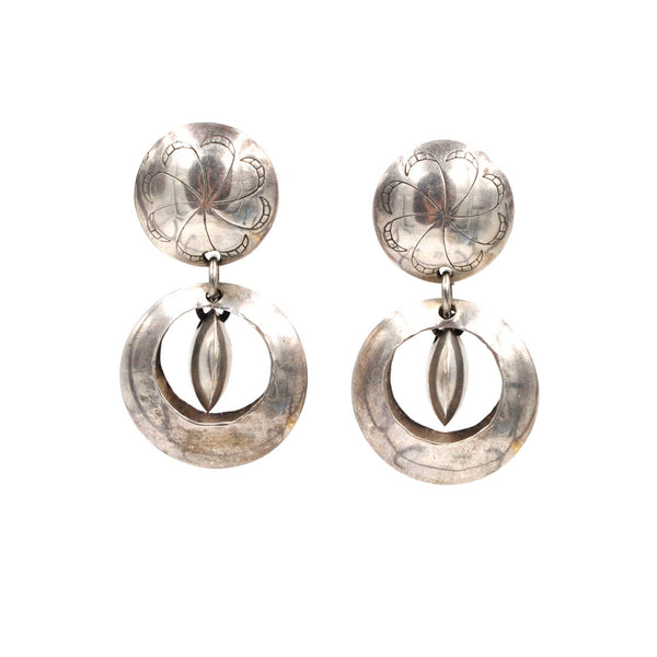 Vintage Geometric Domed Sterling Silver Stud & Hoop Earrings