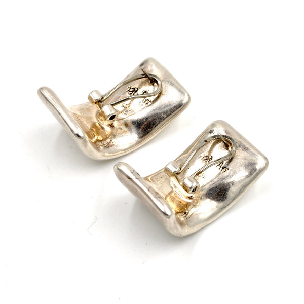 Vintage Puffed Sterling Silver Statement Earrings - Modern Danish Earrings (.925)