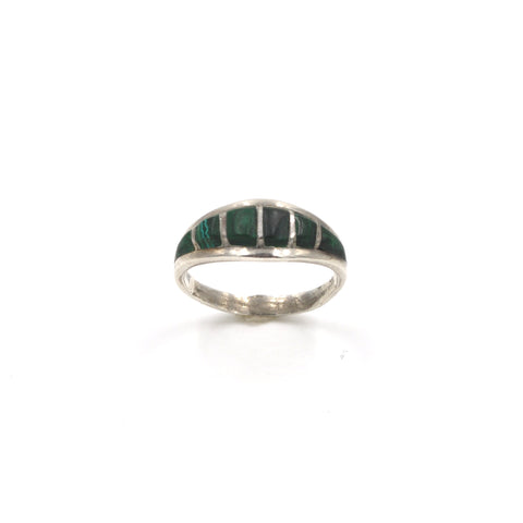 Vintage Malachite Inlay Sterling Silver Band (.925) Size: 7.5