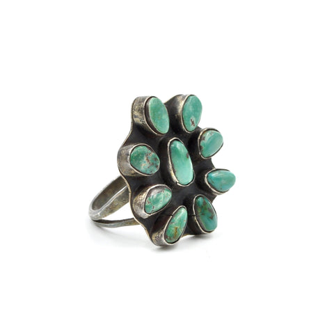 1960's Turquoise Cluster Ring (925) - Size: 9.5