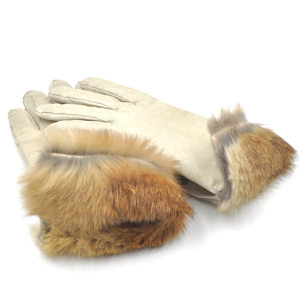 1960's White Leather Fur Lined Gloves by Fownes