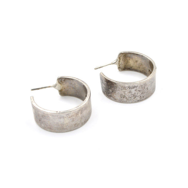 Vintage Wide Sterling Silver Hoop Earrings (.925) - Vintage Taxco