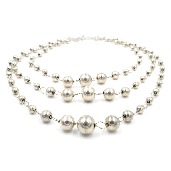 Vintage 3-Tier Sterling Silver Ball Necklace on Handmade Chain (925)
