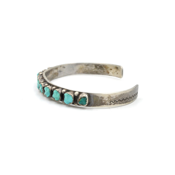 Vintage Zuni Turquoise Nugget Stamped Cuff (.925)