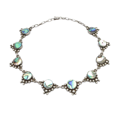 1950's Taxco Abalone Sterling Silver Link Necklace (925) - Vintage Taxco