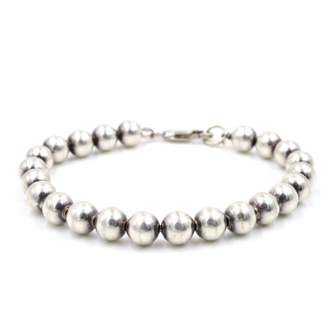 Vintage Italian Sterling Silver Bead Bracelet (925) - 8.5 Inches - Classic Vintage