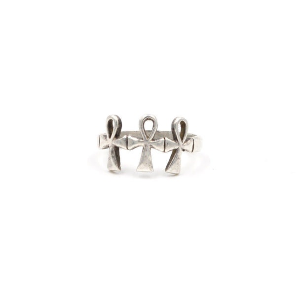 Vintage Sterling Silver Ankh Ring (925) Size: 6