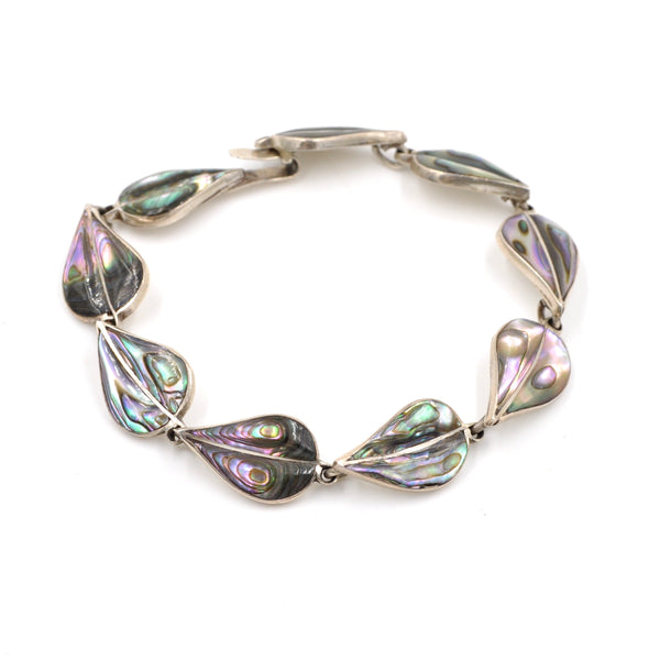 1970's Taxco Abalone Leaf Sterling Silver Link Necklace (925) - Vintage Taxco