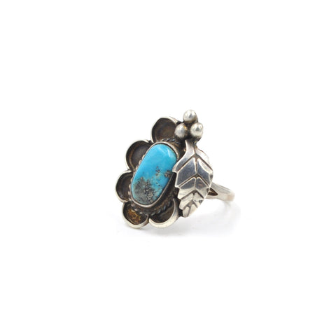 Vintage Turquoise Leaf Sterling Silver Ring (925) - Size: 7.25