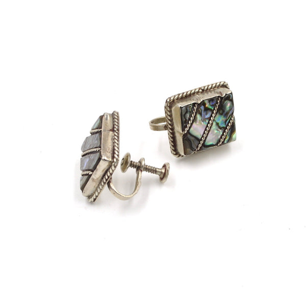 Vintage Abalone Inlay Screwback Earrings