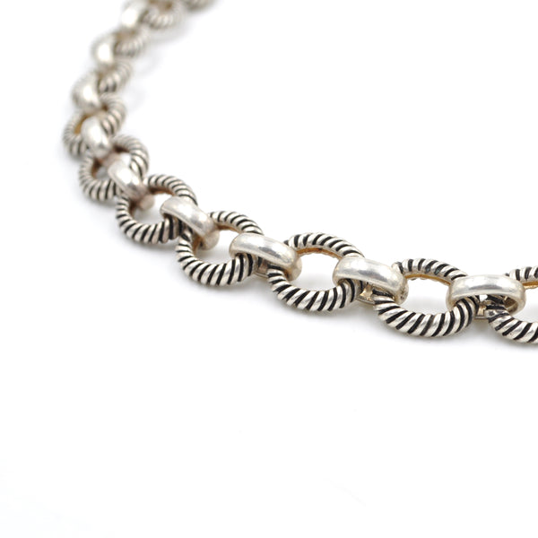 Vintage Heavy Patterned Link Sterling Silver Chain Necklace (925)