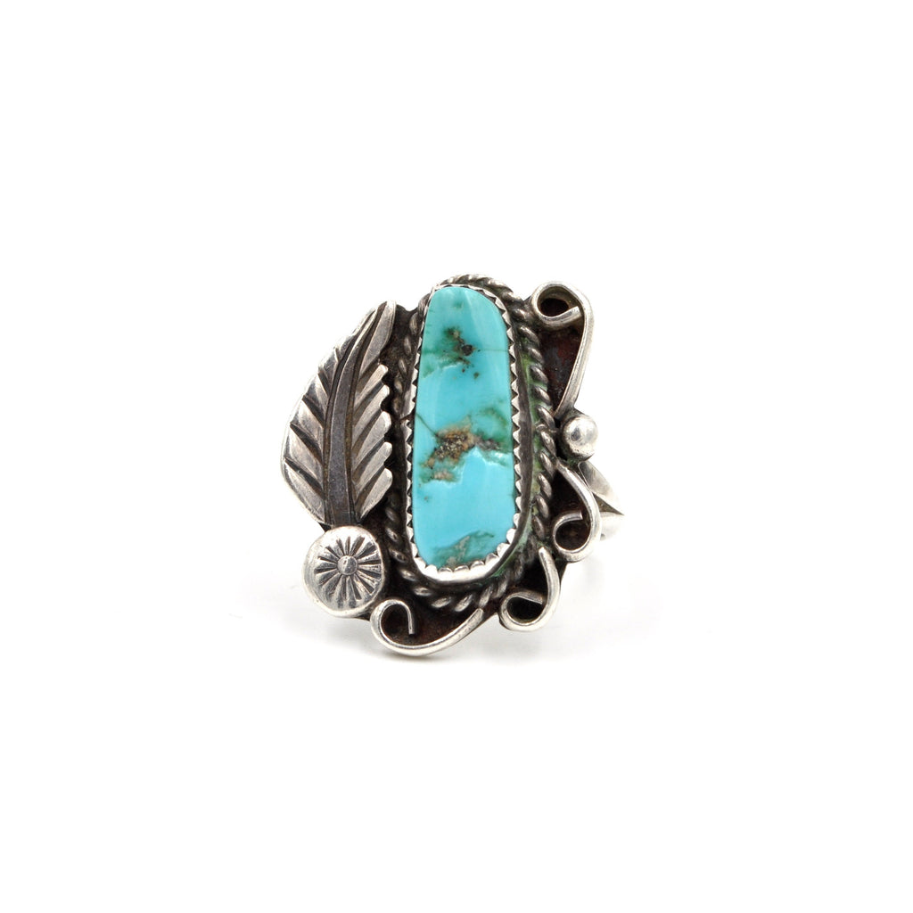 1970's Turquoise Feather Ring (925) - Size: 7.75