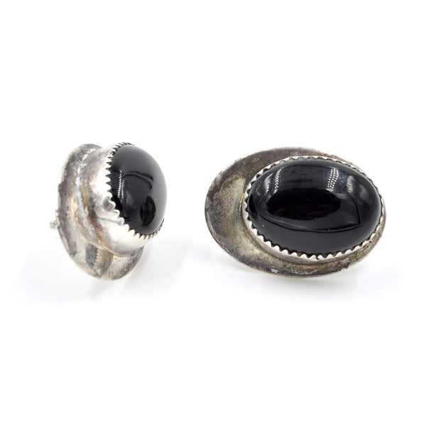 Vintage Onyx Sterling Silver Post Earrings (.925)
