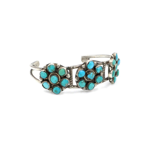 Classic Vintage Turquoise Flower Cluster Cuff (.925)