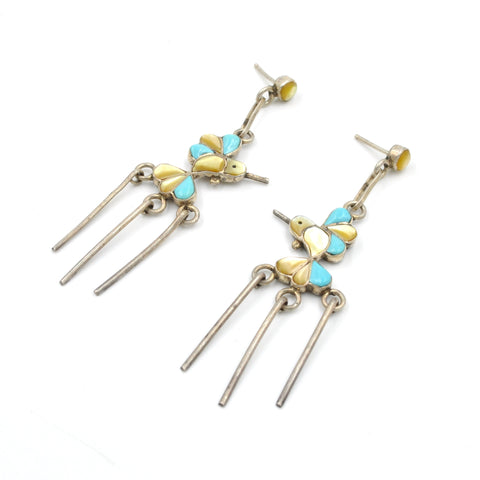 Vintage Hummingbird Turquoise & Yellow Lip Pearl Inlay Earrings (.925)