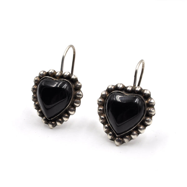 1960s Black Heart Onyx Sterling Silver Earrings (.925)