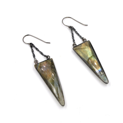 labradorite pointe earrings