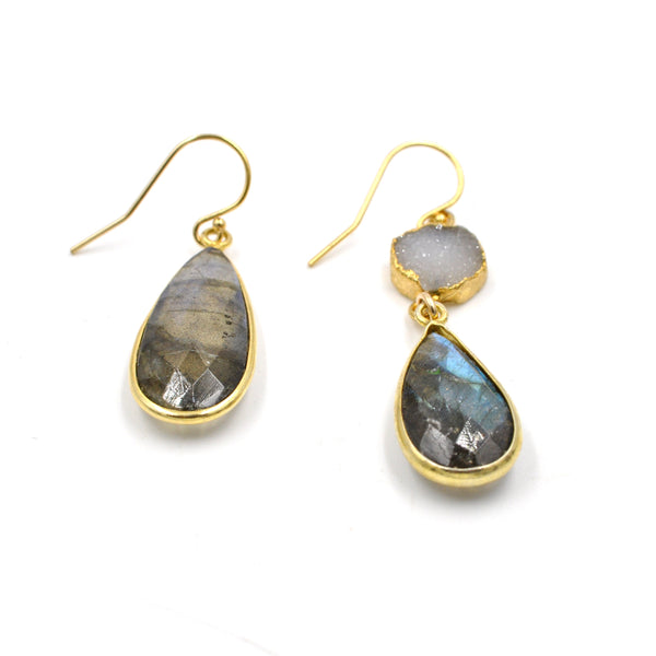 labradorite druzy earrings